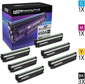 Speedy Inks Compatible Toner Cartridge Replacement for HP 650A (3 Black, 1 Cyan, 1 Magenta, 1 Yellow, 6-Pack)