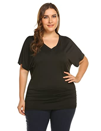 241449f0b973a4 IN VOLAND Women s Plus Size V Neck Short Sleeve Drape Dolman Top with Side  Shrring
