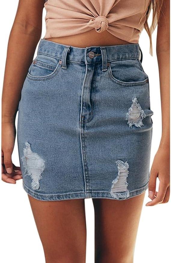 Damen Denim R/öcke Mode Hoch Taillierte A-Linie Zerrissen Minirock Sommer Casual Bleistiftr/öcke Streetwear Plus Gr/ö/ßen