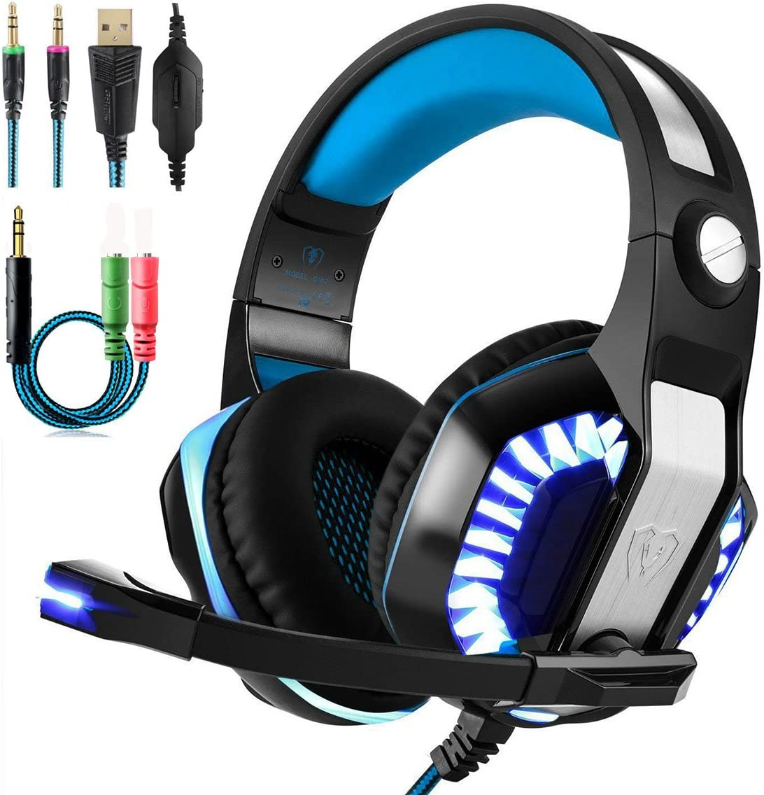 Beexcellent Gaming Headset With Microphone 2017 Newest GM-2 Game Headphone with LED Light for PS4 Xbox 1 Laptop Tablet Mobile Phones PC Blue Black