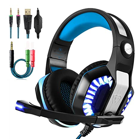 Beexcellent Gaming Headset With Microphone 2017 Newest GM-2 Game Headphone  with LED Light for PS4 Xbox 1 Laptop Tablet Mobile Phones PC (Blue+Black)