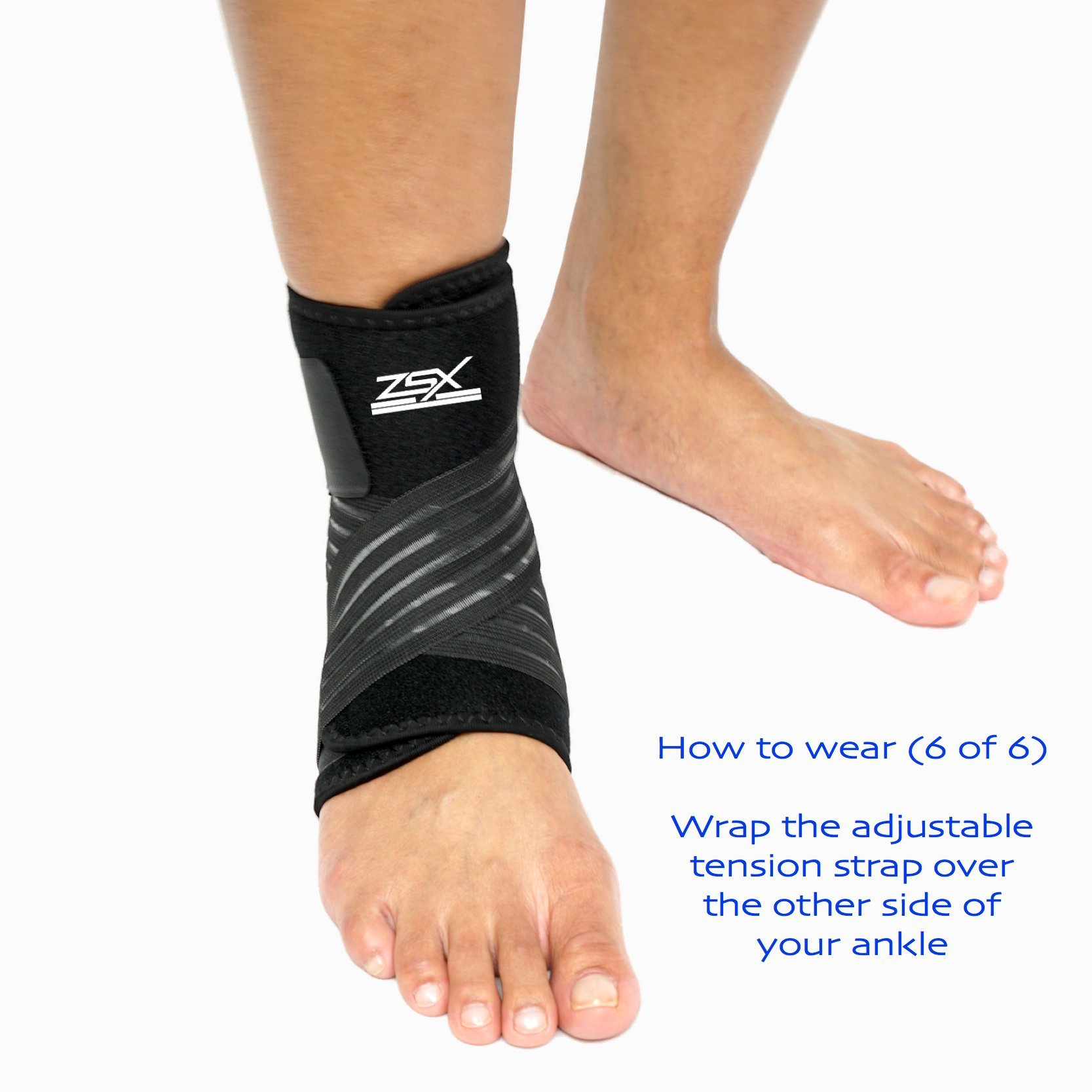 Ankle Brace (PAIR) with Bonus Straps, for Ankle Support, Plantar Fasciitis, or Swollen Ankles, One Size Fits Most, By ZSX SPORT (Foot Size - Reg) by ZSX (Image #8)