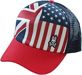 Psycho Bunny Patriot Adjustable Mesh Back Trucker Cap