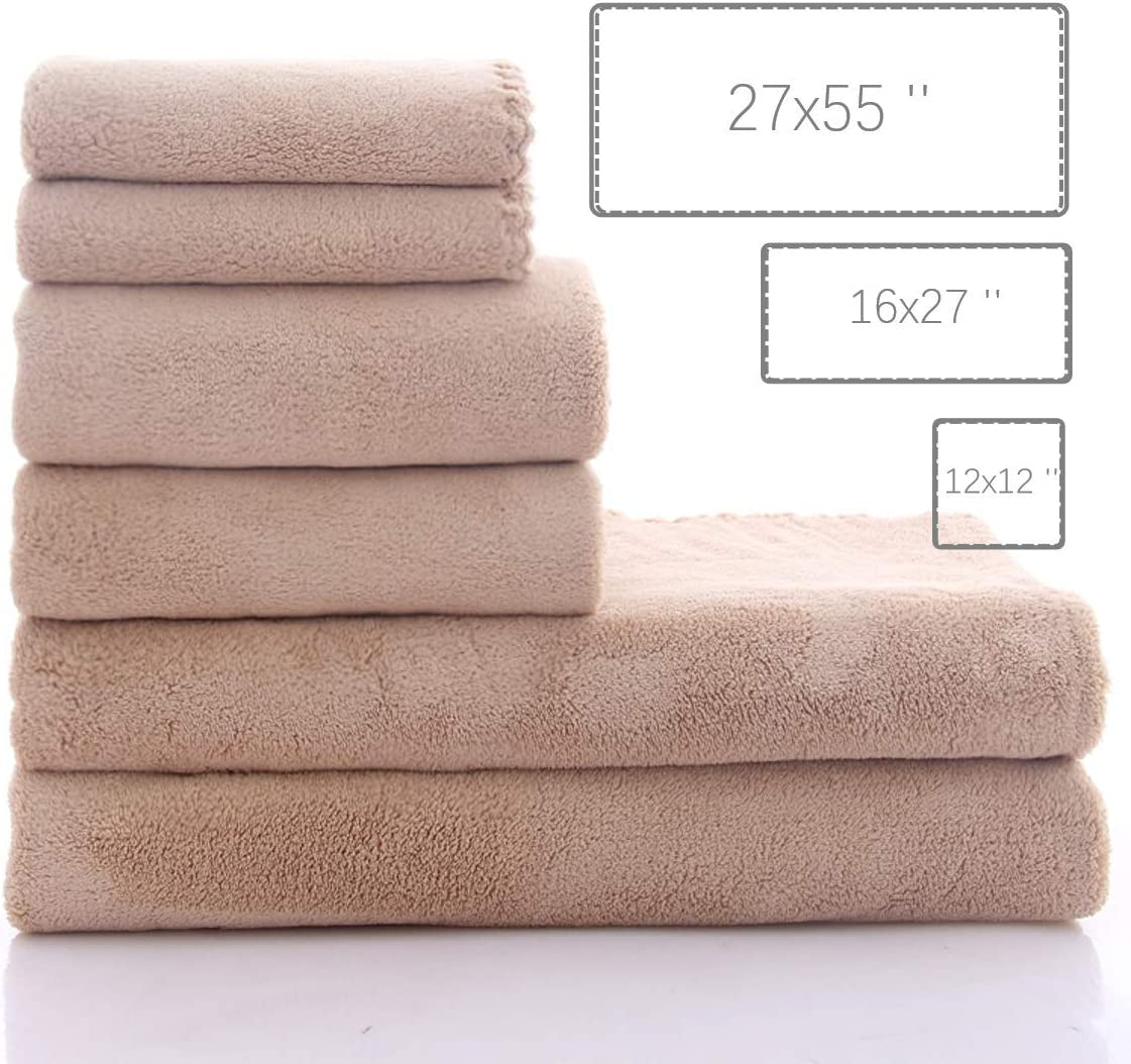 MOONQUEEN Premium Towel Set - Quick Drying - 2 Bath Towels, 2 Hand Towels 2 Washcloths - Premium Microfiber Coral Velvet Absorbent Towels for Bath Fitness, Shower, Sports, Yoga Towel (Grey 6 Pieces): Home & Kitchen