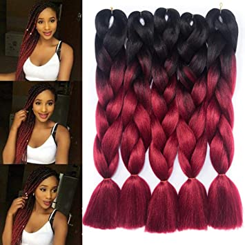 Kanekalon Braiding Hair Two Tone Ombre Jumbo Braids Hair Extensions High  Temperature Synthetic Fiber for Twist Braiding Hair Black,Win Red 24\u201d