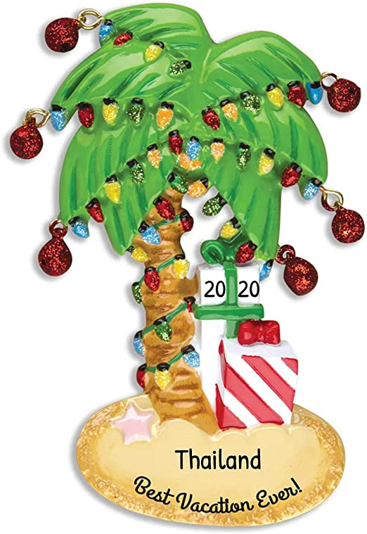Beach Vacation Christmas 2020 Amazon.com: Personalized Christmas Palm Tree Ornament 2020
