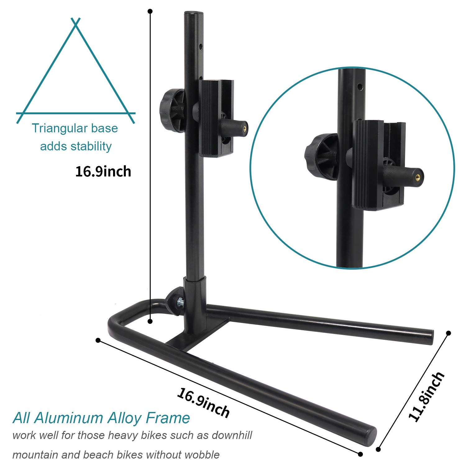 Sports Bike Stand Rack for Quick Release Front Wheels Adjustable Aluminium Alloy Bicycle Storage Floor Parking Rack Wheel Holder Fit 20 -29 Tire Mountain Bikes Road Bicycle Outdoor Indoor Home Garage