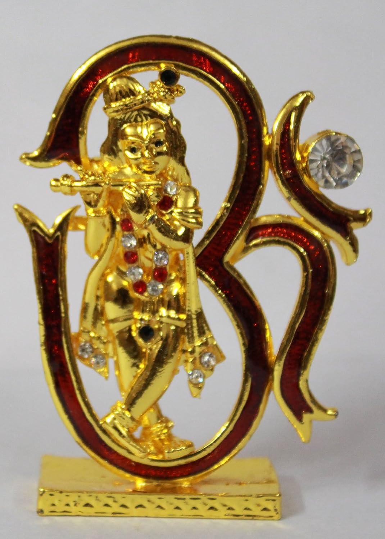 Odishabazaar Om Krishna Idol for Car Dashboard / Home / Office / Perfect Gift Item 7x5x1.5 cm
