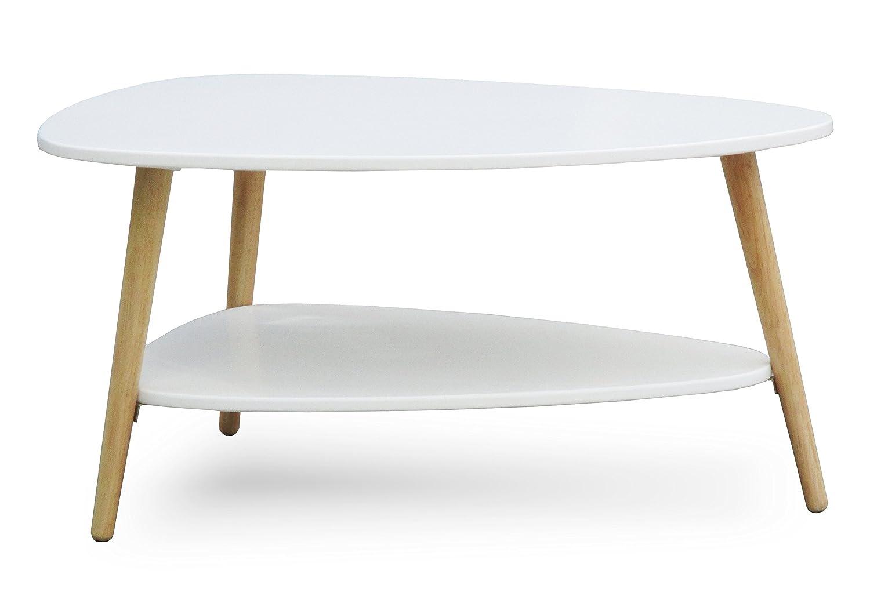 SORENSEN DESIGN Couchtisch Weiss Skandinavisches Design Holz Clean Chic Rund Oval Retrolook Beistelltisch Neu Wohnzimmer Ablage Natur 2 Etagen