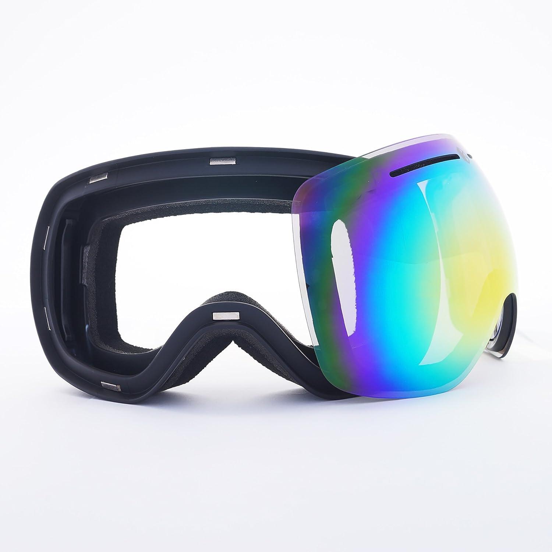 47ea9160098 Bearz Yeti Magnetic Lens Frameless Snow Snowboard Ski Goggles Mirror Anti-Fog  Additional Low Light Lens (Blue