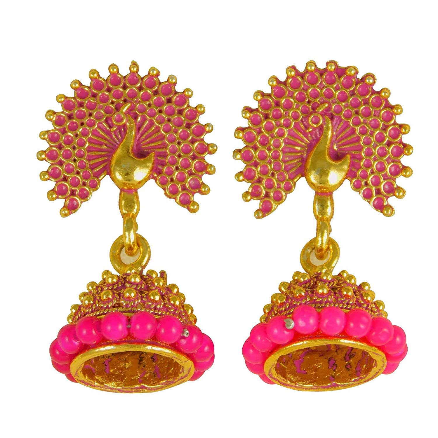 ShoppingHUB Get Closer Bollywood Traditional Peacock Earrings Indian Theme Drop Dangle Fashion Jewelry