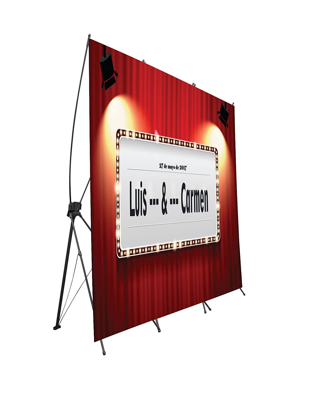 Photocall flexible 100% personalizado Cine peliculas talla XX con soporte X 160x200   Expositor publicitario fabricado en lona alta calidad impresa a todo color 1 cara con ollados   Montados sobre Banners con soporte X de gran calidad, facil instalación, e