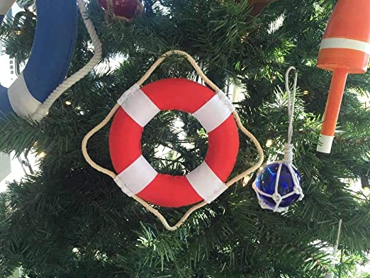 Classic White Decorative Anchor Lifering With Blue Bands Christmas Ornament 6/""