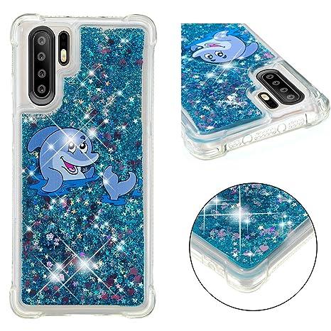 Abuenora Huawei P30 Pro Funda Antigolpes, Carcasa Transparente con Líquido Agua Purpurina Lentejuelas Silicona TPU Case Dibujo Delfín