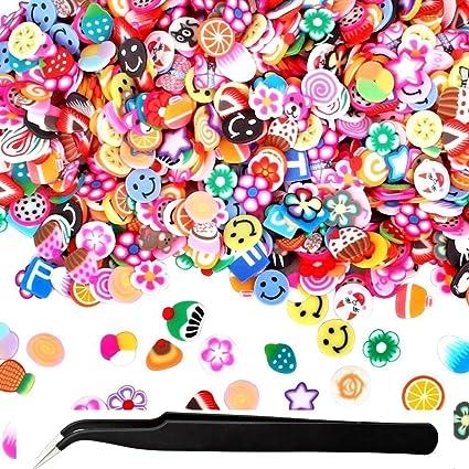 1000 unidades de pinzas para decoración de uñas, varios diseños de frutas 3D Fimo,