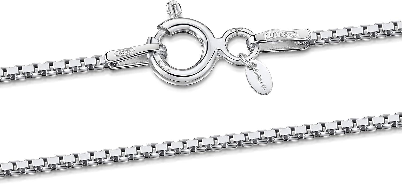 Amberta® Joyería - Collar - Fina Plata De Ley 925 - Cadena de Eslabón Cuadrado - 1.0 mm - 40 45 50 55 60 cm (50cm)