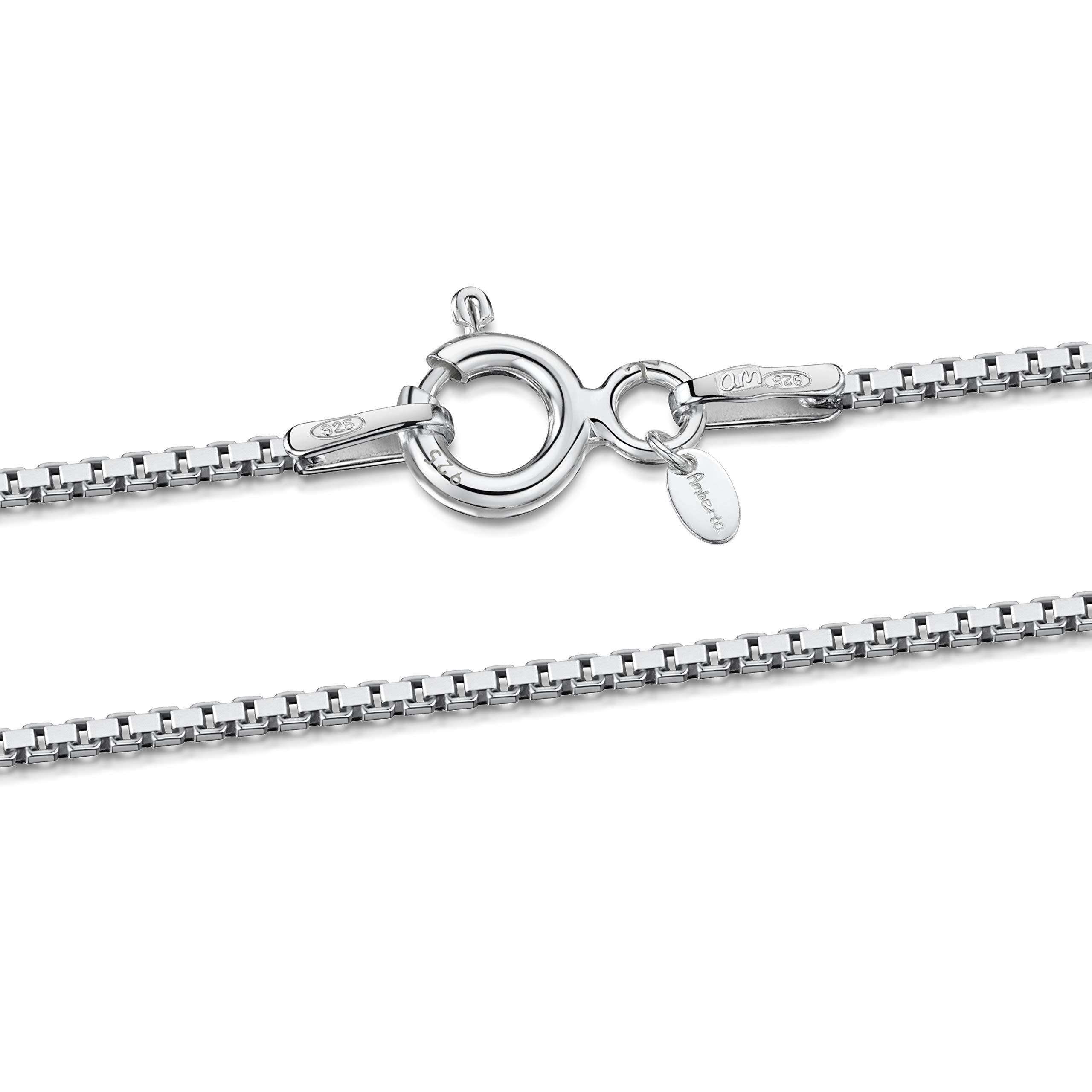 3e14eb6397c6 Amberta Joyería - Collar - Fina Plata De Ley 925 - Cadena de Eslabón  Cuadrado -