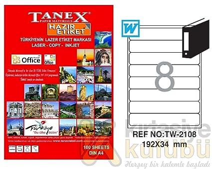 TANEX TW-2108 Etiquetas para archivadores blanco 192 x 34 mm -abgerundet- 25