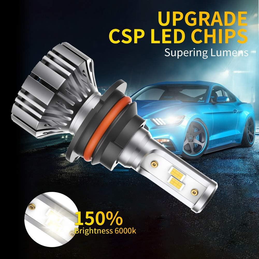 IP67,CSP Chips,360 Degree High//Low Beam,Fog Light Bulb Conversion Kit CCJK 9004 LED Headlight Bulbs 100W 12000LM 6000K Xenon White