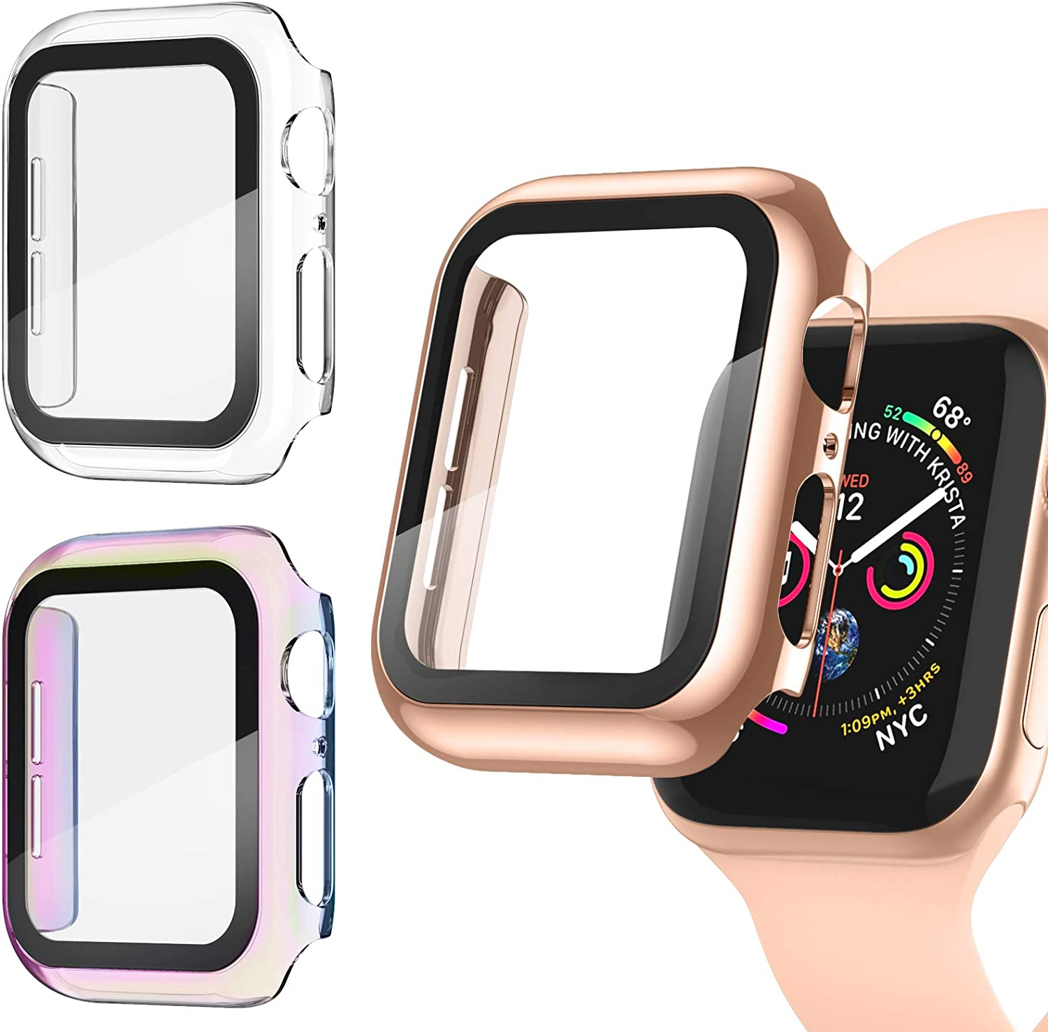 Recoppa [3 Pack] Apple Watch case with Screen Protector for Apple Watch 40mm Series 6/5/4/SE, Full Hard Cover Ultra-Thin Bumper HD Clear Protective Film Scratch Resistant for Women Men iWatch