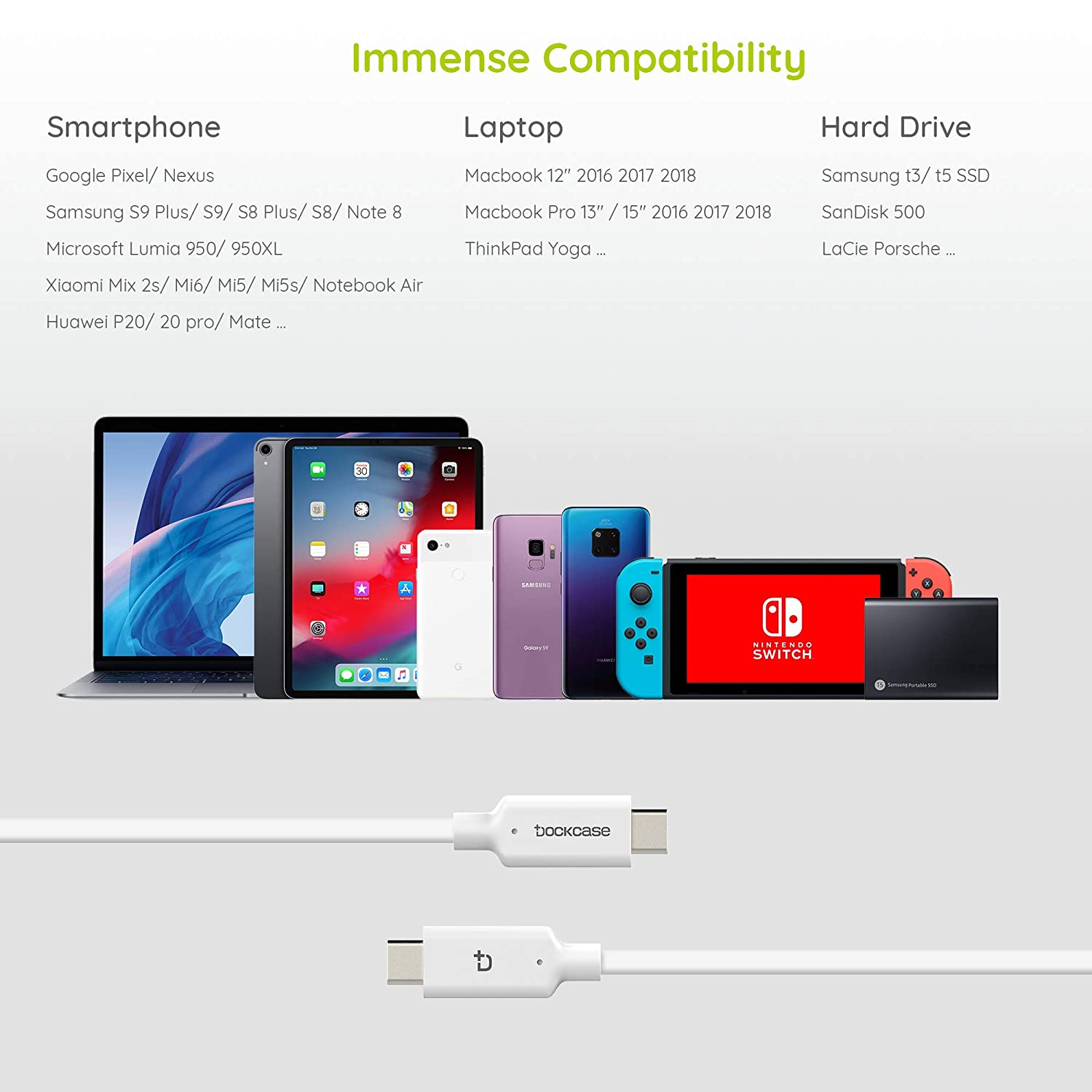 Samsung Galaxy S9 Note 9 8 S8 Plus Smartphone T3 T5 SSD Hard Drive USB 3.1 Gen 2 Cable USB C to USB C Cable 3Ft White Fast Charging Data Syncing at 10Gbps// 100W for New MacBook Pro Air iPad 3.2ft DockCase