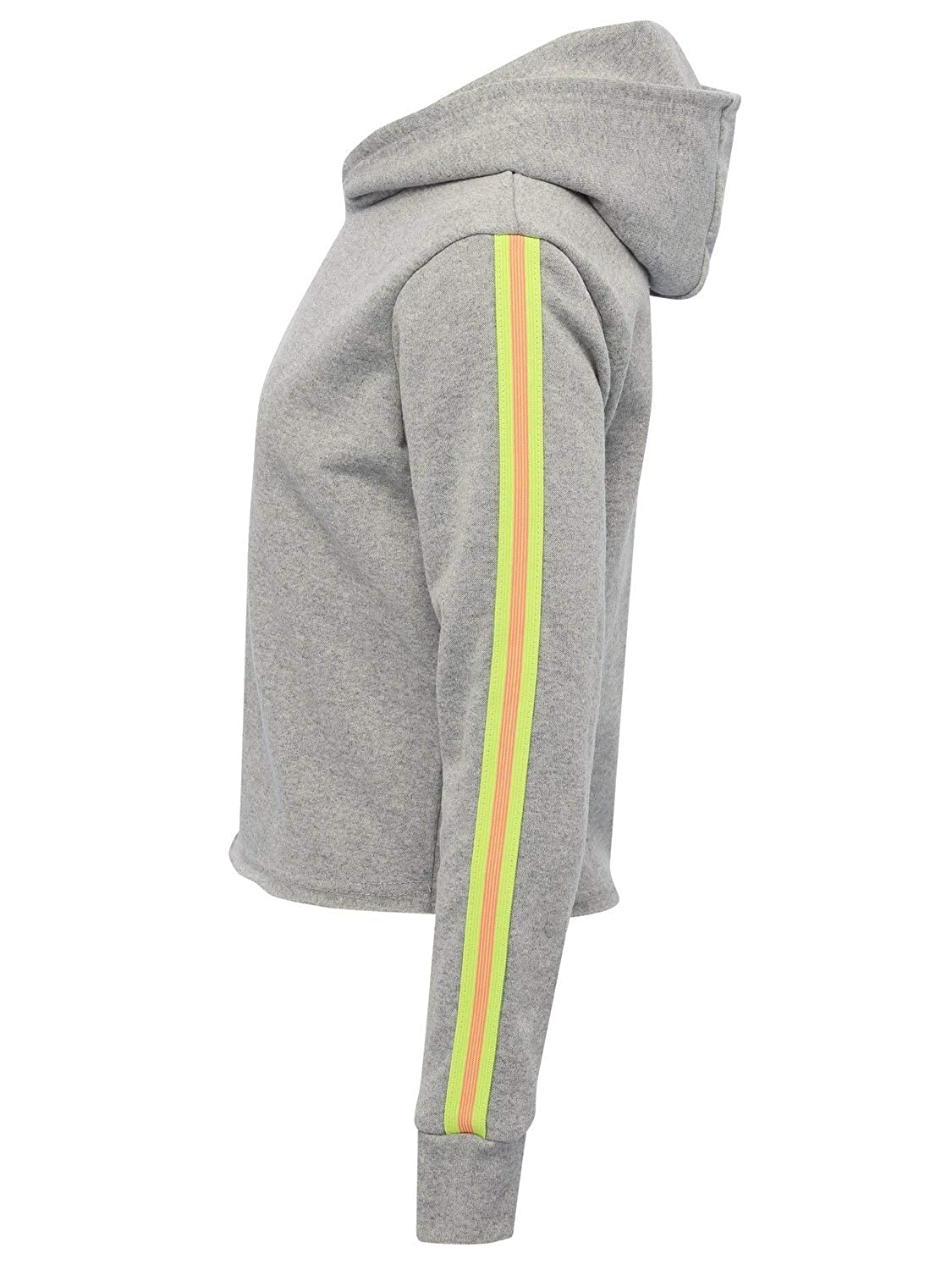 M/&Co Teen Girl Neon Stripe Hoody Cropped with Long Sleeves and A Hood