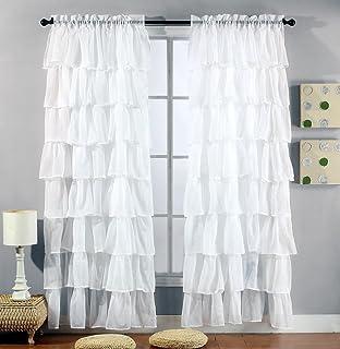 Amazon.com: Gee Di Moda White Ruffle Curtains Gypsy Lace Curtains ...