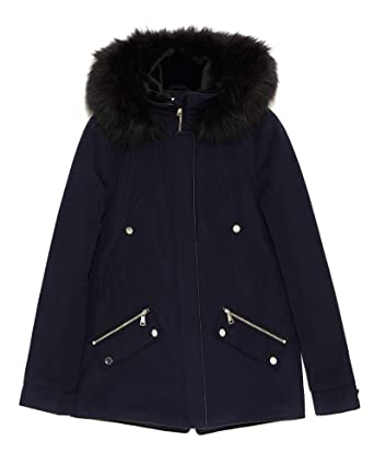 3361663b09 Zara Women Quilted Parka With Hood 0518/040 - Blue - x-Large: Amazon ...