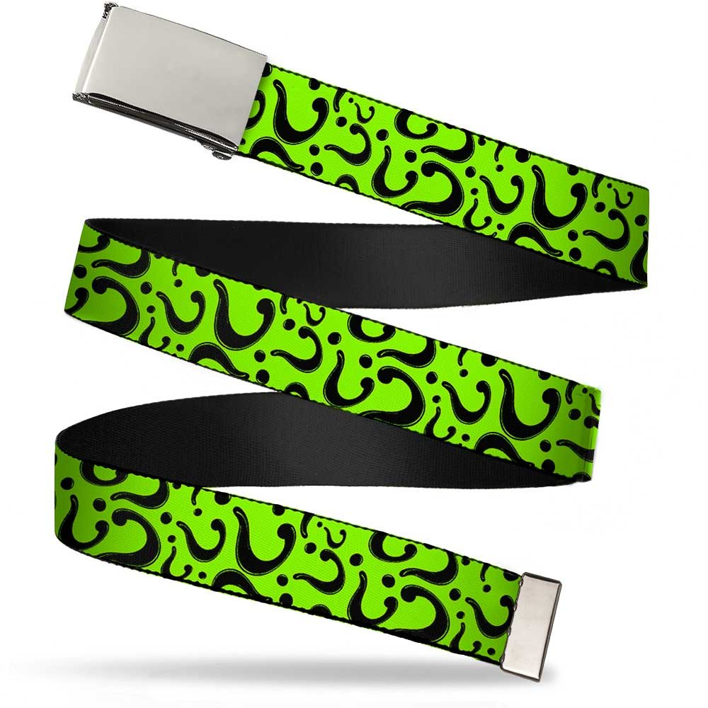 Buckle Down mens Buckle-Down Web Belt - Question Mark Scattered Lime Green/Black