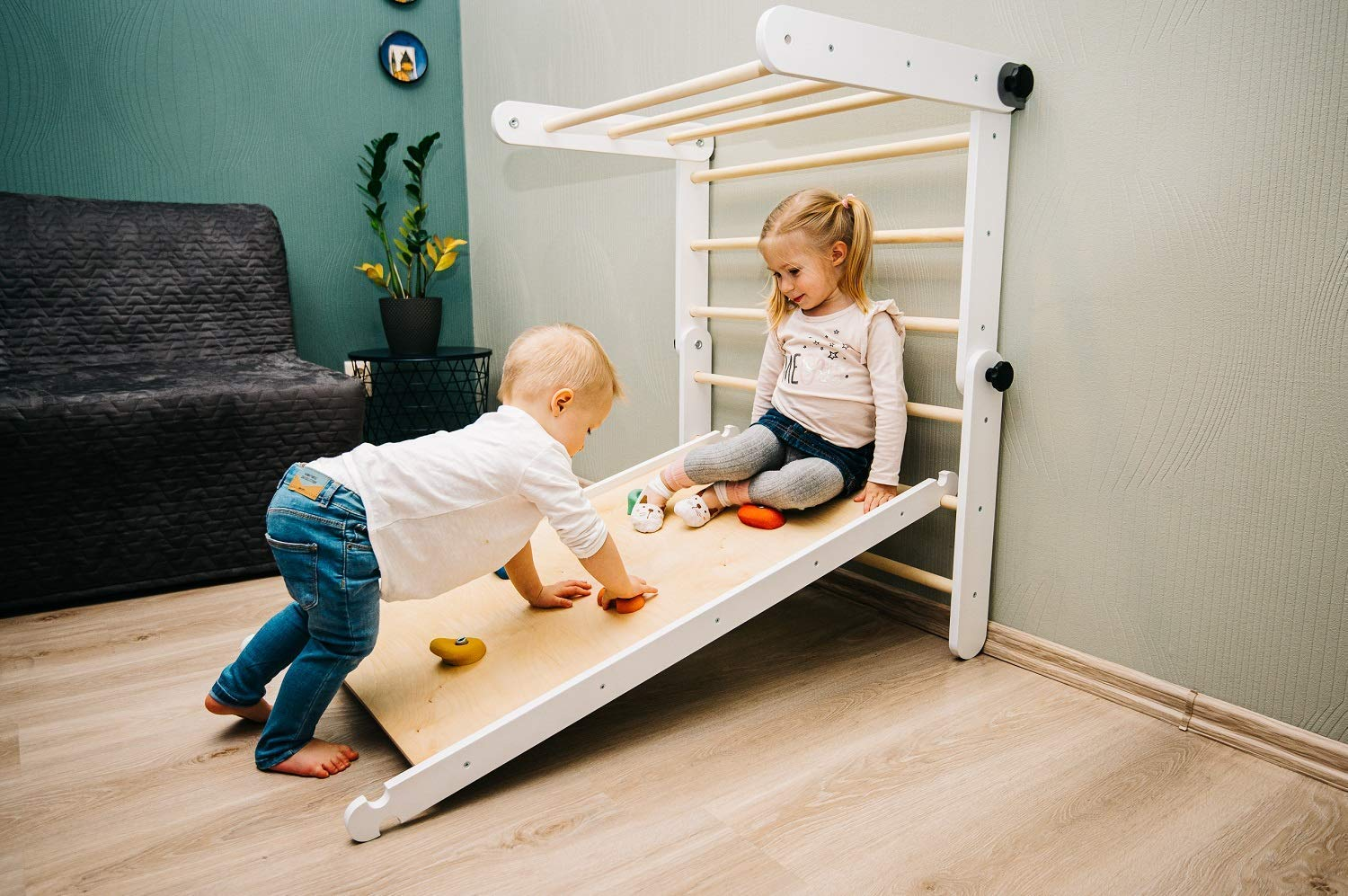 All in one ZUZU climbing Triangle climbing ramp and swedish wall sliding ramp