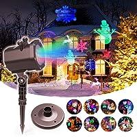 Lampe de Projecteur LED de Noël, Lampe Décoration, Lampe Noël, Lumière Colorée avec 15 Motifs IP65 Etanche, Lampe d'Ambiance pour Fête, Soirée
