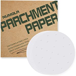 Numola Air Fryer Liners, 7.5 Inch 100 PCS Perforated Parchment Paper Compatible with COSOR, GoWISE USA, Ninja, Ultrean, Chefman, Innsky, Dash, OMORC, BELLA, Secura and More 3.4-6QT Air Fryer