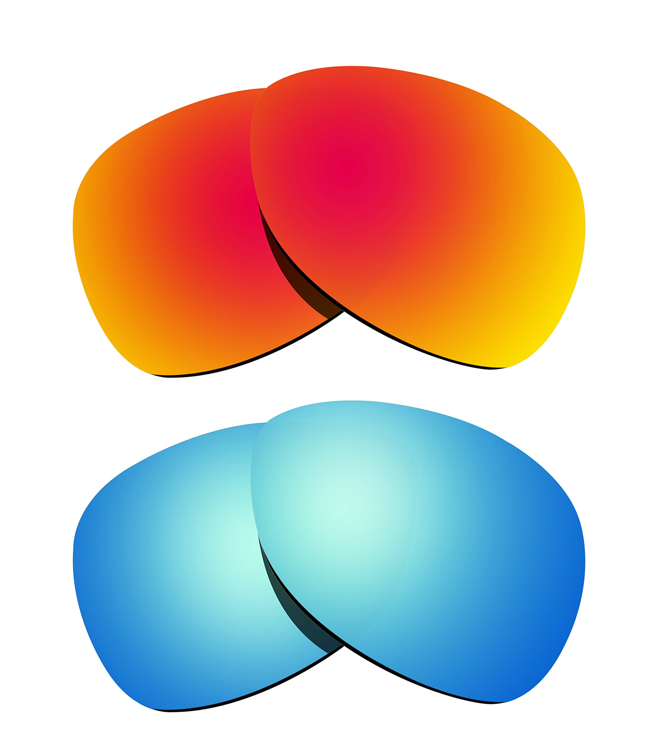 Littlebird4 2 Pairs 1.5mm Polarized Replacement Lenses for Oakley Crosshair Sunglasses - Multiple Options (Fire Red+Ice Blue)
