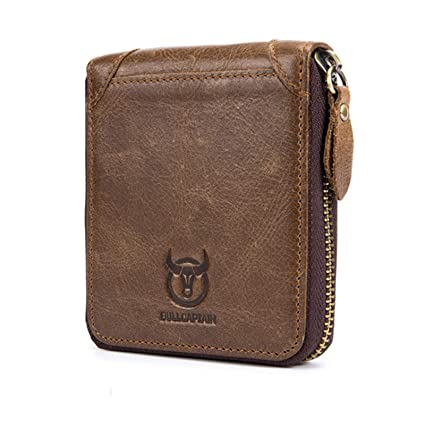 Adisaer-Leather Wallets for Men Black RFID Blocking Coin ...