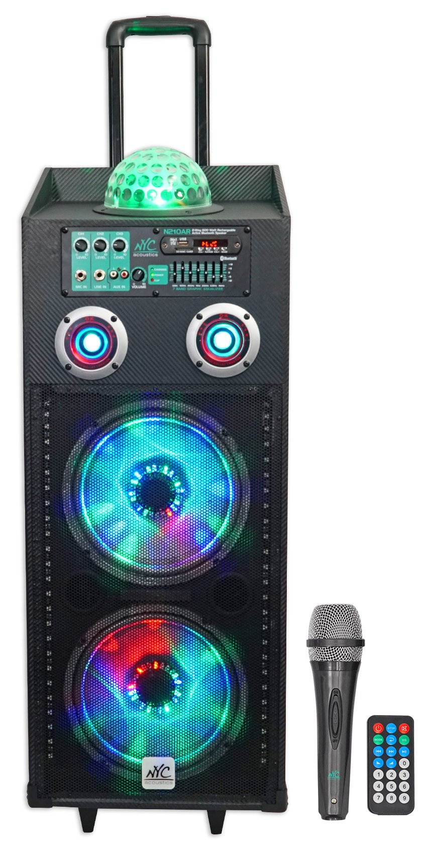 NYC Acoustics N210AR Dual 10'' 600w Rechargeable Powered Bluetooth Party Speaker