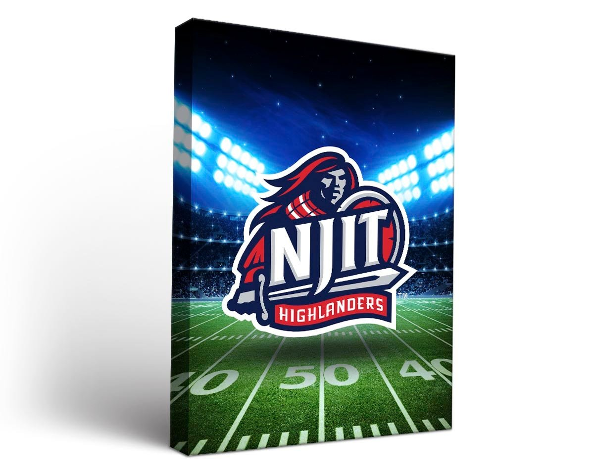 Victory Tailgate New Jersey Institute of Technology Highlanders Canvas Wall Art Stadium Design (18x24)