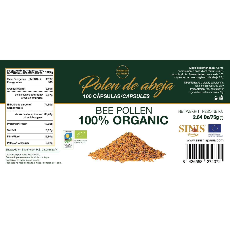 Sinis Hispania - Polen Organico/Bio de Abeja - 100 cápsulas ...