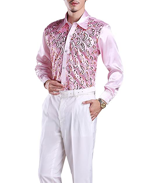 1960s – 70s Mens Shirts- Disco Shirts, Hippie Shirts Cloudstyle Mens Dress Shirt Sequins Long Sleeve Button Down Premium Elegant Party Suit Shirt $20.99 AT vintagedancer.com