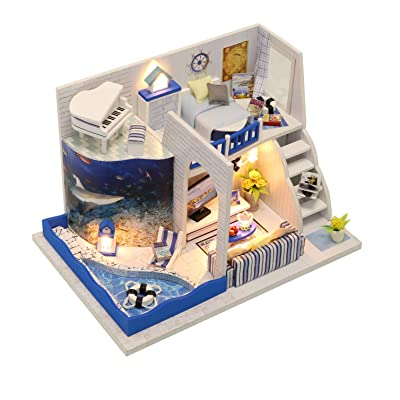 Flever Dollhouse Miniature DIY House Kit Creative Room with Furniture for Romantic Valentine's Gift-Sound of The Sea: Toys & Games