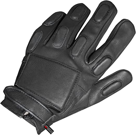 Leather police tactical gloves black