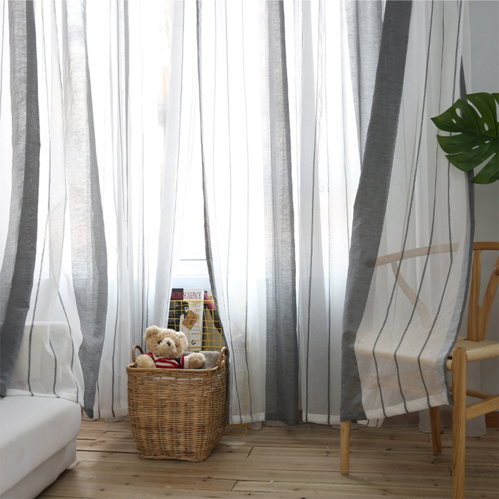 Striped white sheer panel curtains can