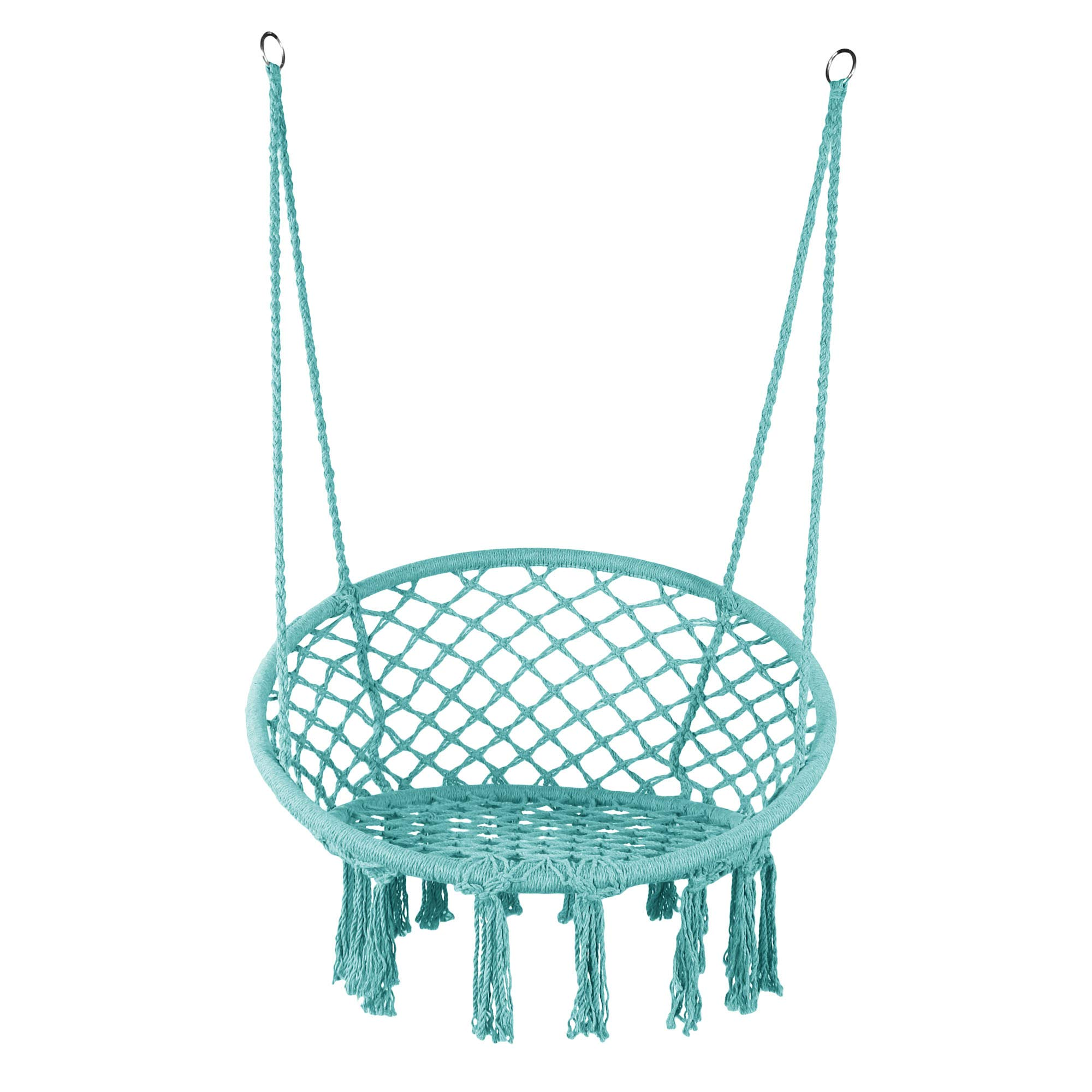 LAZZO Hammock Chair Hanging Knitted Mesh Polyester Rope Macrame Swing, 260 Pounds Capacity, 23.6'' Seat Width,for Bedroom, Outdoors, Garden, Patio, Yard. Child, Girl, Adult. (Blue)