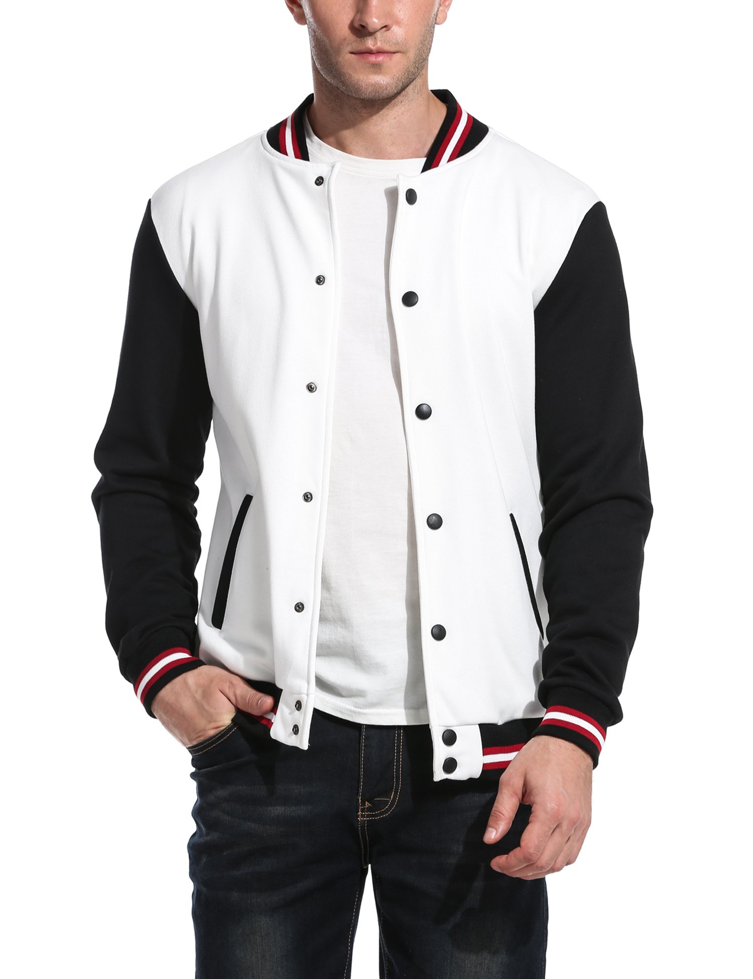 COOFANDY Men Fashion Long Sleeve Button Front Cotton Bomber Baseball Jacket(White,X-Large) by COOFANDY
