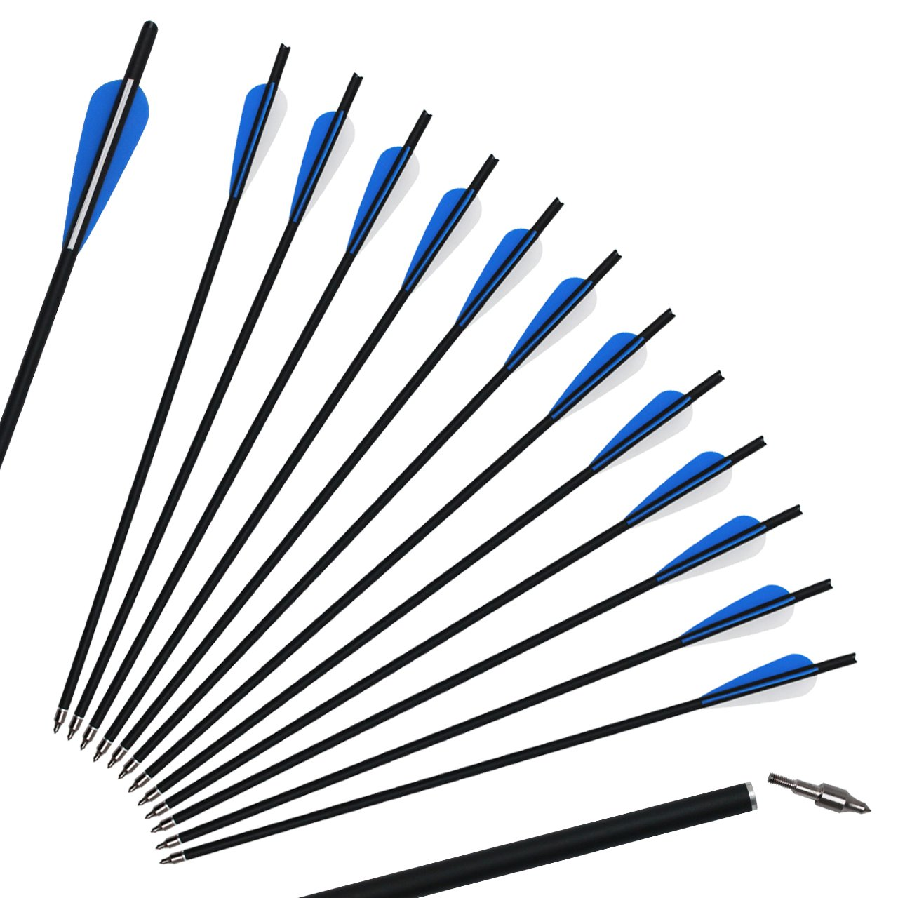 SinoArt 20'' Carbon Crossbow Bolt Arrows Crossbolt Arrows With 4'' vanes for Competition Practice Hunting