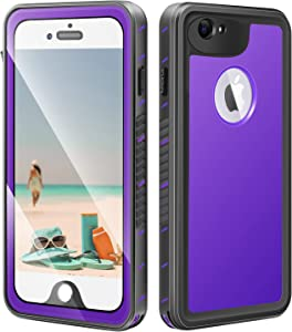 meritcase iPhone 6 Plus/6s Plus Case, IP68 Certified Waterproof Shockproof Dustproof Snowproof Full Body Protective Underwater Cover with Built in Screen Protector for iPhone 6 Plus/6S Plus-Purple
