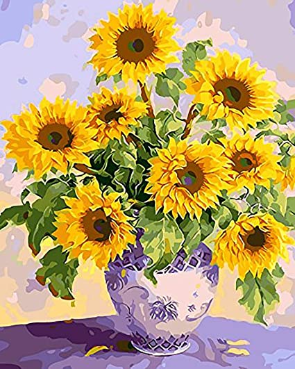 Paint By Number Sunflowers Acrylic Kit 16x20 Diy Adult//Kids Oil Canvas Painting