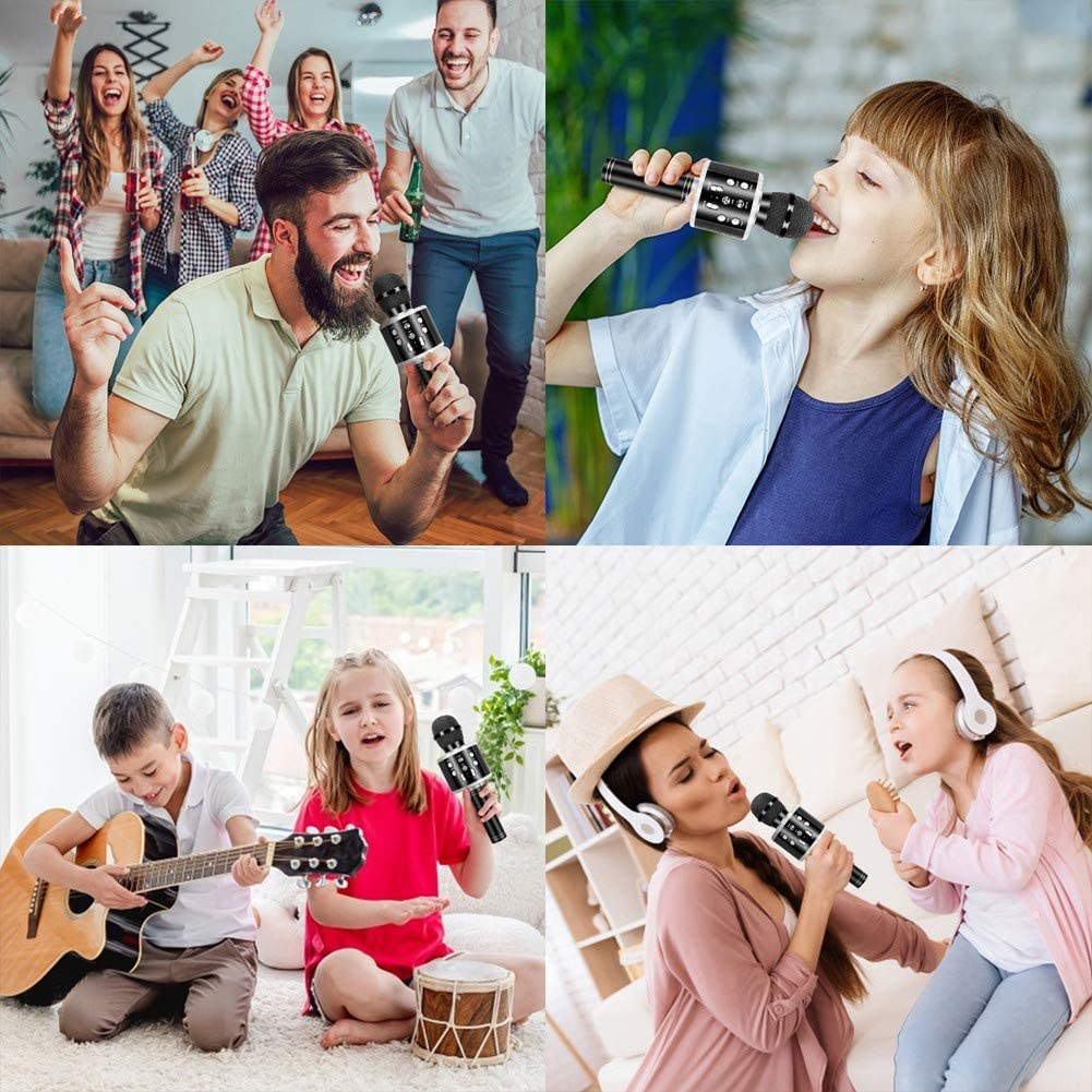 Home KTV with Record Function,Compatible with Android iOS Devices(Pink) Karaoke Microphone,Guiseapue Wireless Bluetooth Microphone,Dancing LED Lights Portable Speaker Karaoke Machine