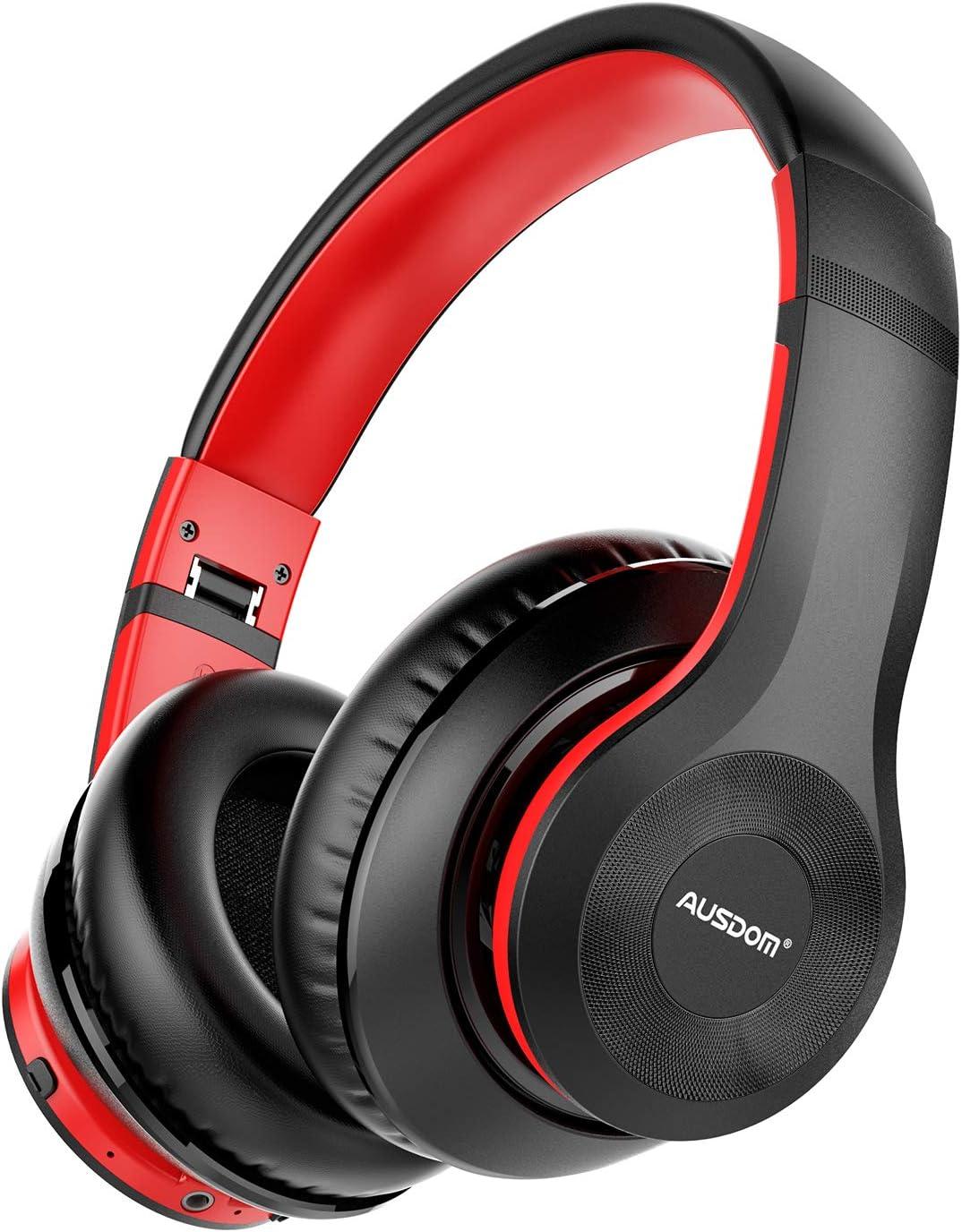 AUSDOM ANC10 Auriculares Bluetooth 5.0 con Cancelacón Activa de Ruido, Cascos Inalámbricos Bluetooth con Micrófono Hi-Fi Deep Bass,Cómodo Protein Earpads, para PC/Teléfonos/TV-Negro Rojo