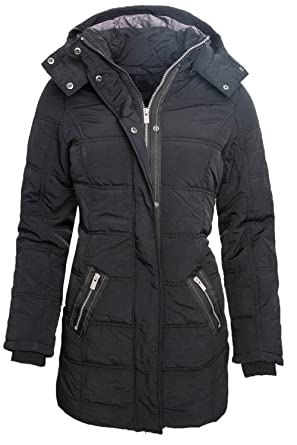 Golden Brands Selection Langer Damen Winter Stepp Mantel Parka Jacke  Schwarz B173 XS-XL  Amazon.de  Bekleidung bd7e173d09