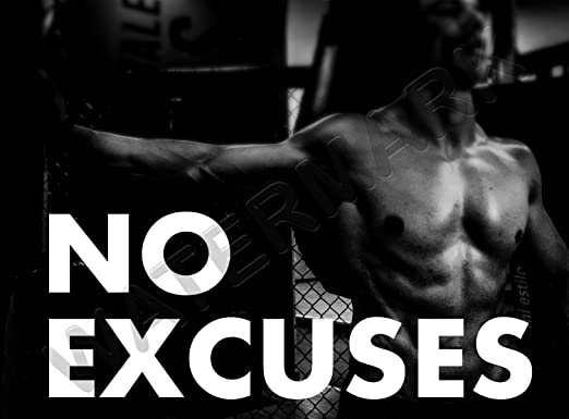 Gym Motivational Quote No Excuses Large Wall Art Poster Print LF3838